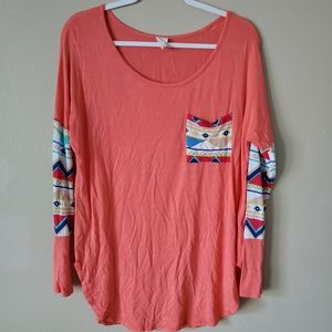 Pink Owl Coral Long Sleeve Tunic Top Blouse Small